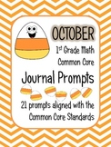 October Math Journal Prompts - 1st Grade. Common Core