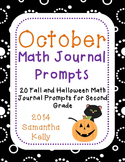 October Math Journal Prompts for 2nd Grade