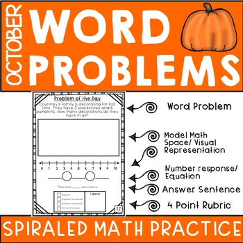 October Math Journal- First Grade Word Problem Practice