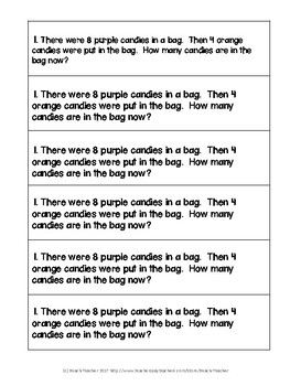 October Math Journal Word Problems for 1st Grade