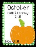 October Kindergarten Morning Worksheets