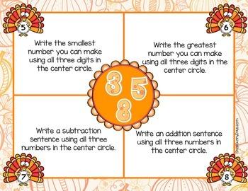 November Math Mats {second grade}