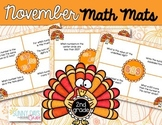 November Math Mats {second grade}