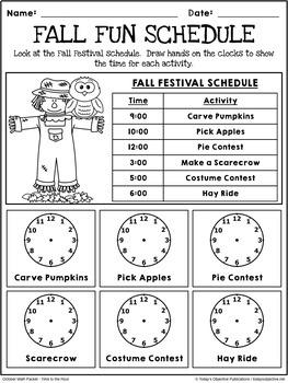 October Activities Math Packet (First Grade)