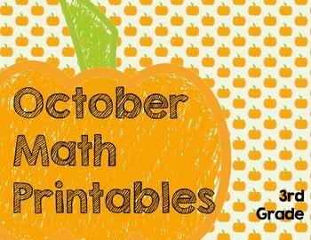 October Math Printables- 3rd Grade