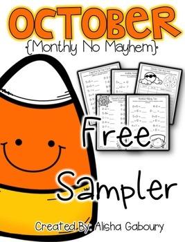 October Math Printables [Free Sampler]