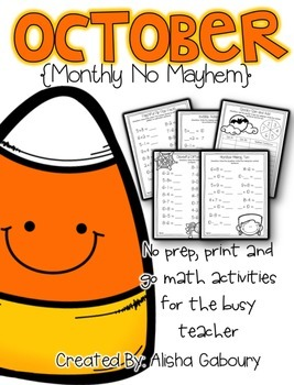 October Math Printables [Monthly No Mayhem]