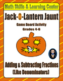 """Halloween Math Skills & Learning Center (Add & Subtract """"Like"""" Fractions)"""