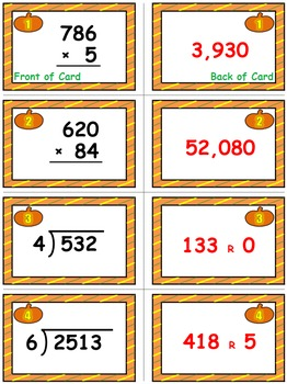 Halloween Math Skills & Learning Center (Multiply & Divide Whole Numbers)