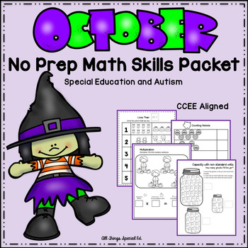 October Math Skills Packet- Special Education and Autism