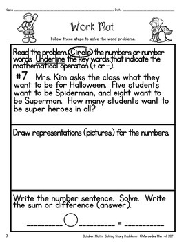October Math:  Solving Story Problems  First Grade 1.OA.1 with BONUS FILE!