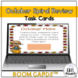 October Math Spiral Review Boom Cards