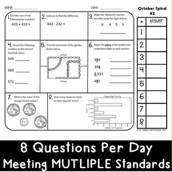 October Math Spiral Review: Daily Math for 3rd Grade (Print and Go)