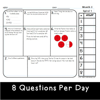 October Math Spiral Review (MONTH 2): Daily Math for 4th Grade