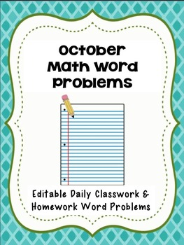 October Math Word Problems- Editable