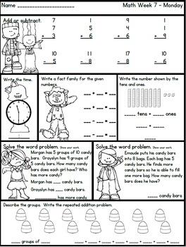 October Math and ELA Morning Work No Prep 2nd Grade