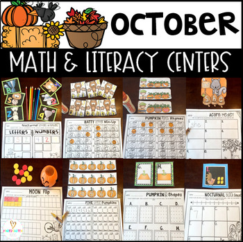 October Math and Literacy Centers for Kindergarten {CCSS}