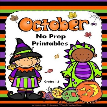 October Math and Literacy NO PREP Fall Printables for Common Core Skills