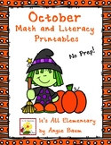 October Math and Literacy Printables for 3rd or 4th Grade