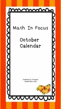 October Math in Focus Calendar