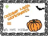 October Math worksheets