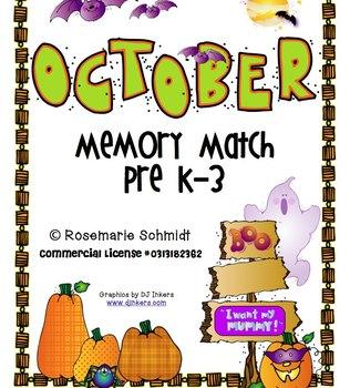 October Memory Match Pre K-3