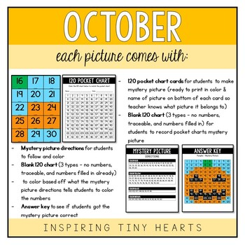 October Month Bundle - 120 Pocket Chart and Mystery Picture