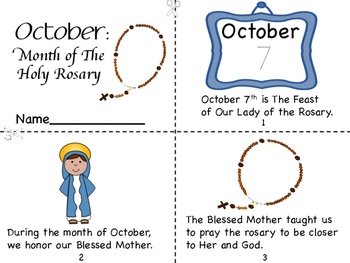 OctoberMonth Of The Holy Rosary Mini Book Tracking Grid Coloring Page