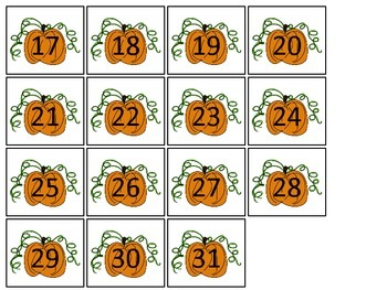 October Month themed Classroom Calendar Dates. Homeschool Bulletin Board Cale