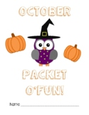 October Monthly Fun Packet: Activties for Early Finishers