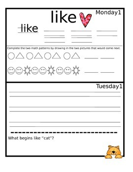 October Monthly Homework for Kindergarten- Editable Version