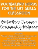 October Monthly Vocabulary for Life Skills Classroom