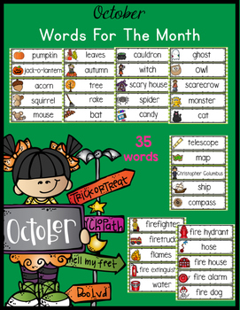 October Monthly Words