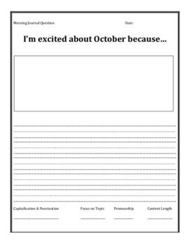 October Morning Journal for All Grades!