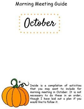 October Morning Meeting Plan