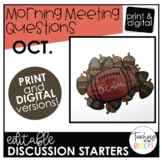 Editable October Morning Meeting Question Cards