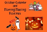 October Calendar and Morning Meeting Routines for Smartboard