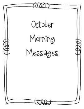 October Morning Message Book