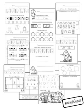 October Morning Work (Kindergarten)