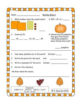 October Morning Work Second Grade