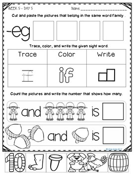 October Morning Work for Kindergarten and First Grade