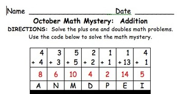 October Mystery Math Message