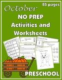 October NO PREP Activities and Worksheets for Preschool
