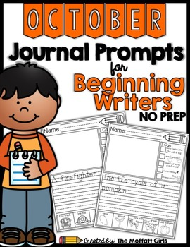 October NO PREP Journal Prompts for Beginning Writers