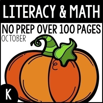 October NO PREP Kindergarten Packet-OVER 100 PAGES!
