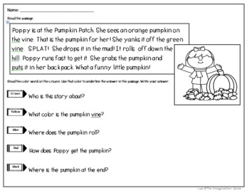 October NO PREP Literacy and Math Pack for K 1st (with beginning text evidence)