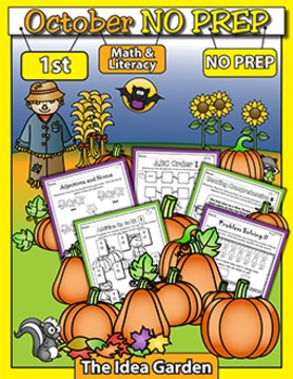 October NO PREP - Math & Literacy (First)