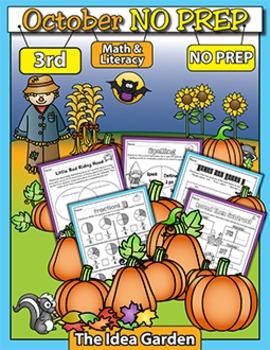 October NO PREP - Math & Literacy (Third)