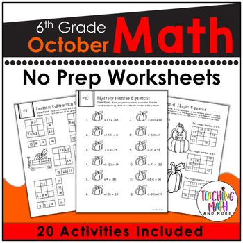 October NO PREP Math Packet - 6th Grade