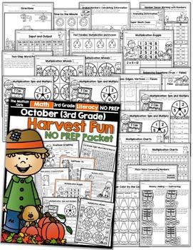 October NO PREP Math and Literacy (3rd Grade)